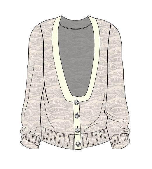 针织开衫款式图