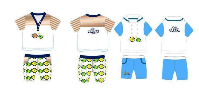 儿童套装-童装设计-服装设计