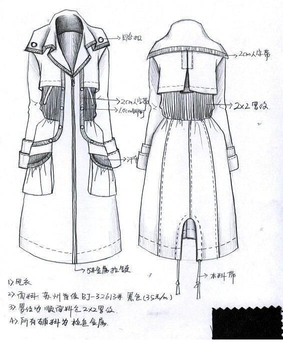 大衣风衣款式图工艺手稿-女装设计-服装设计