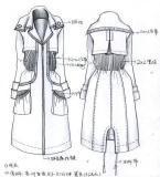 大衣风衣款式图工艺手稿