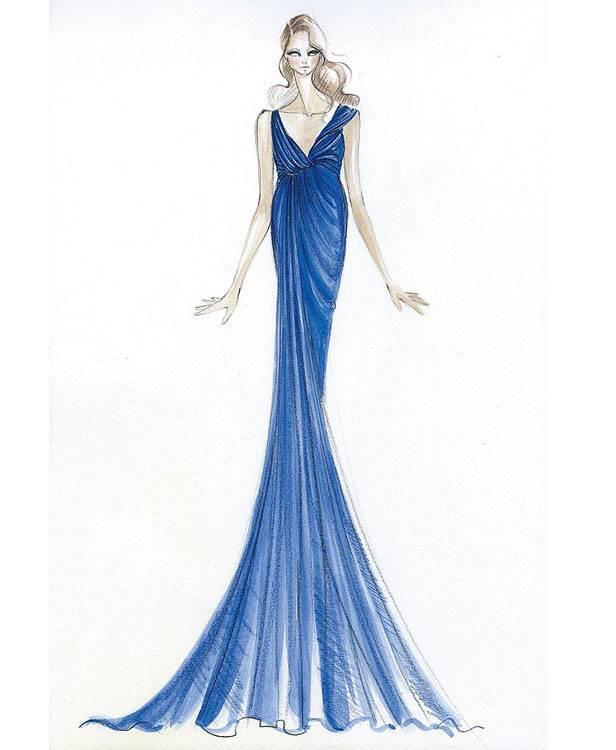 手绘礼服图稿-婚纱礼服设计-服装设计