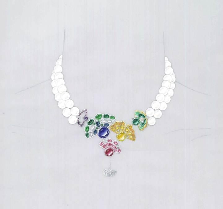 珠宝项链手绘