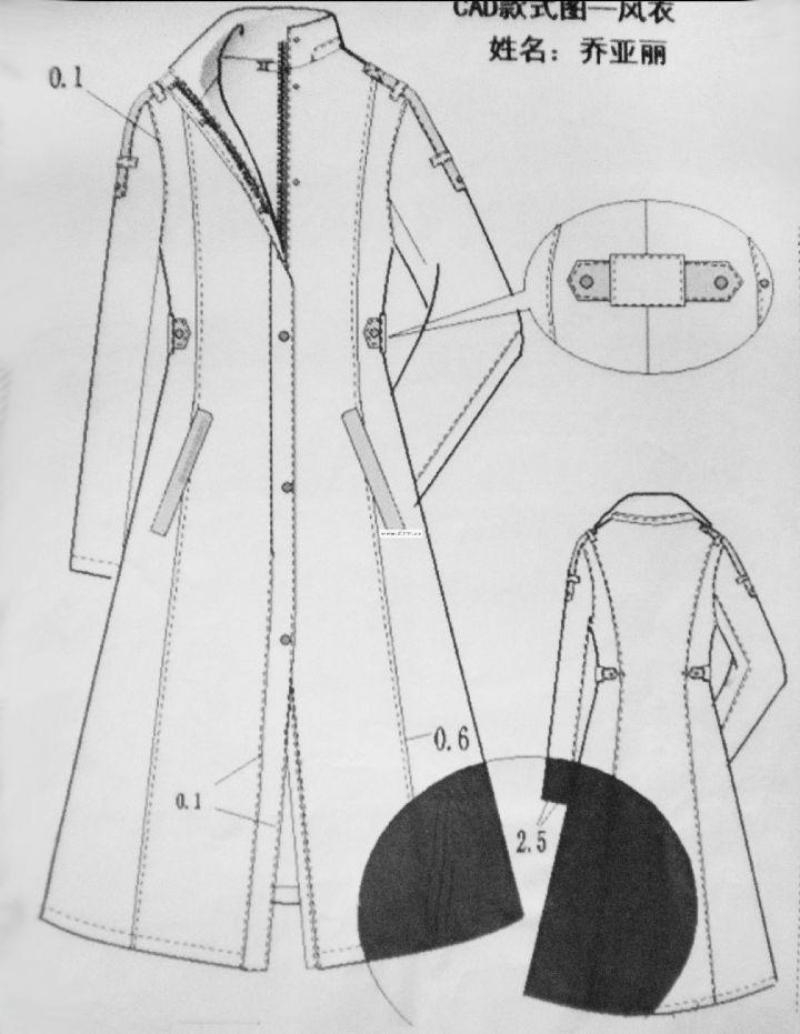 风衣款式图-男士风衣设计图-cfw服装设计