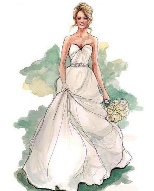 婚纱效果图绘画作品-婚纱效果图绘画款式图