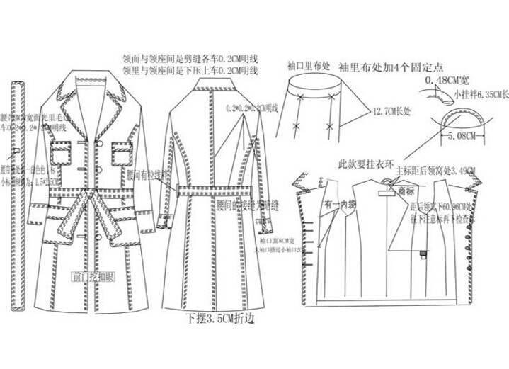 大衣风衣款式图工艺