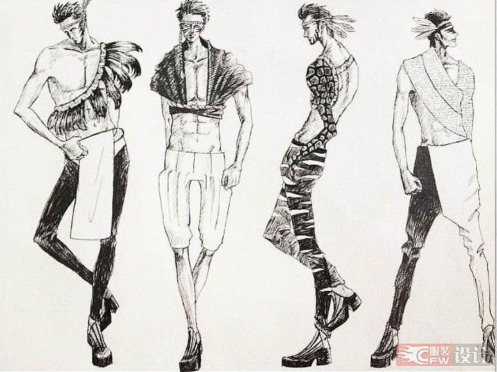 男装手绘效果图