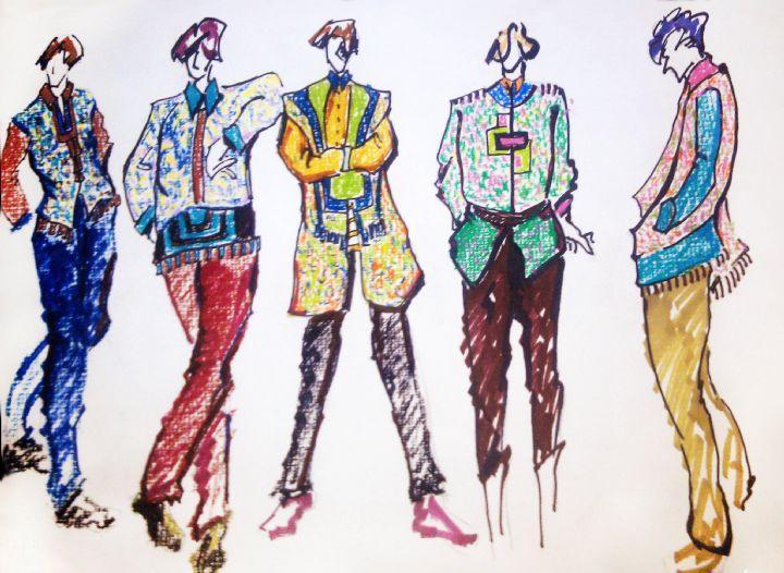 元素现代服装手绘