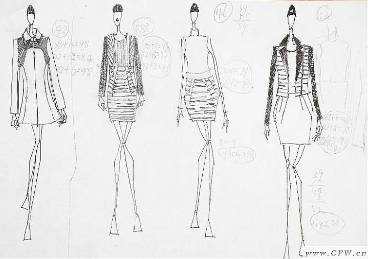 黑白系列手稿-女装设计-服装设计