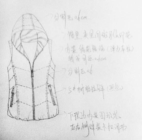 羽绒服设计手绘图稿作品-羽绒服设计手绘图稿款式图