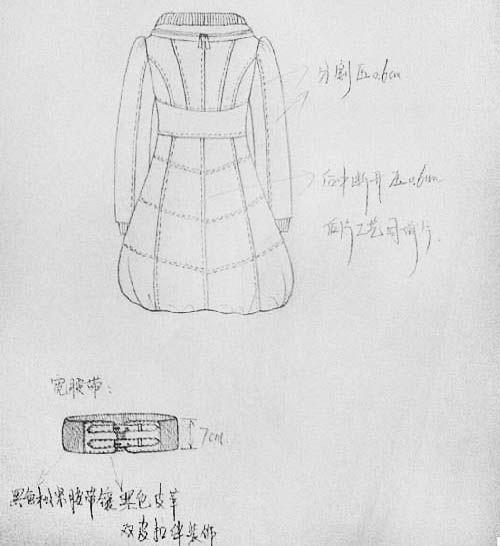 羽绒服设计手绘图稿-女装设计-服装设计