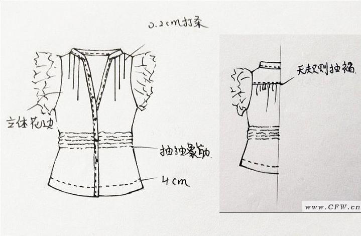 手绘款式图-女装设计-服装设计