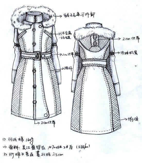 羽绒服棉衣款式图手稿-女装设计-服装设计
