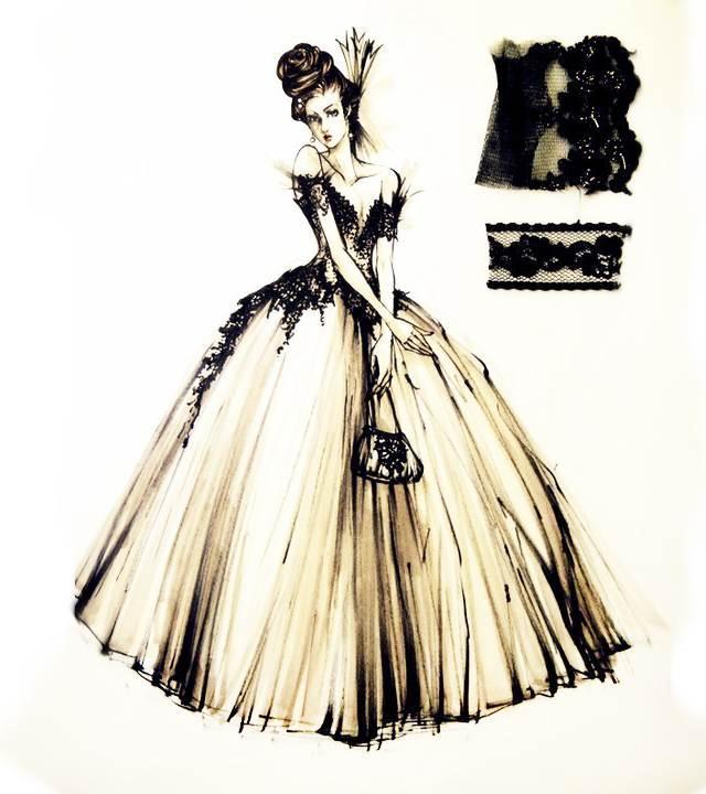 复古风礼服手稿-婚纱礼服设计-服装设计