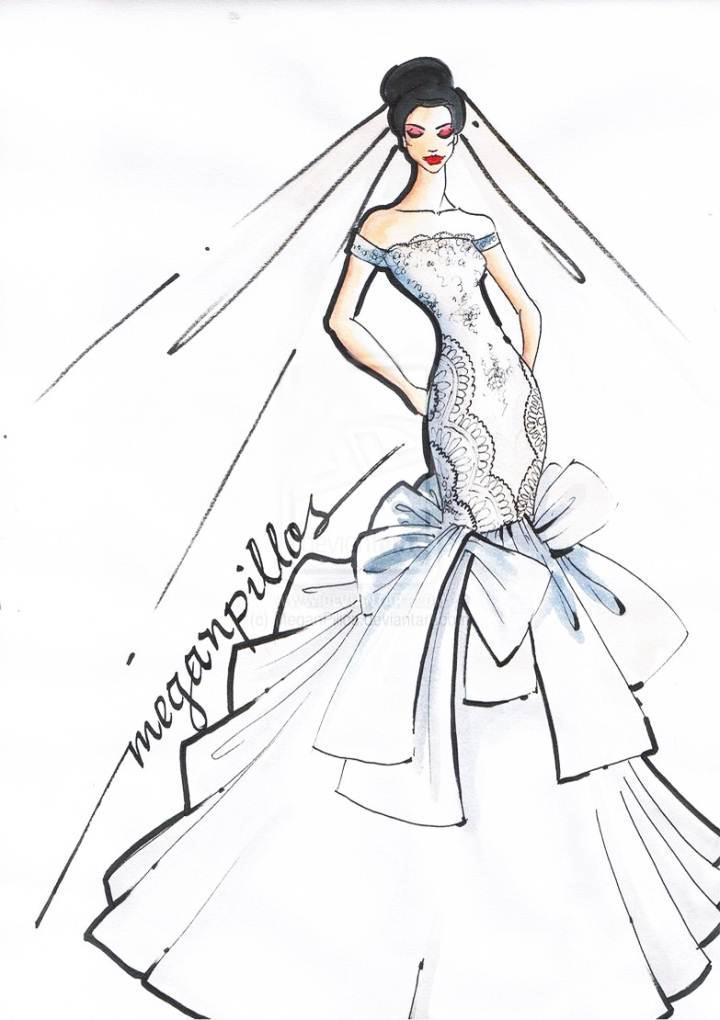 礼服设计图手稿 手绘_图片素材