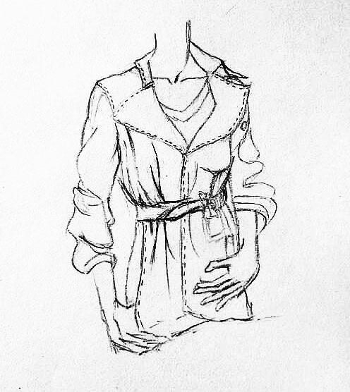 风衣外套手绘作品-风衣外套手绘款式图