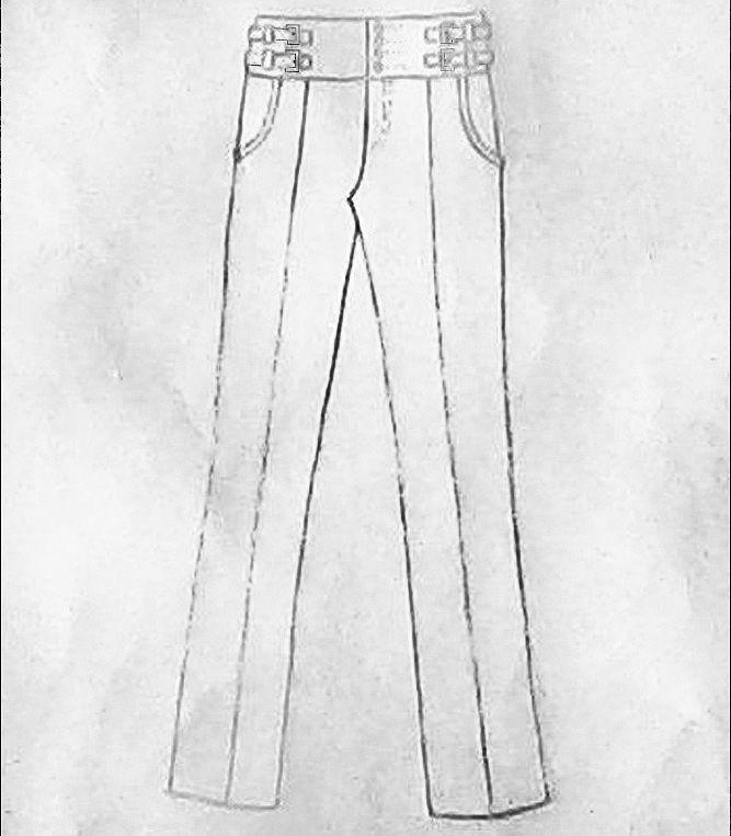 西裤款式手绘图