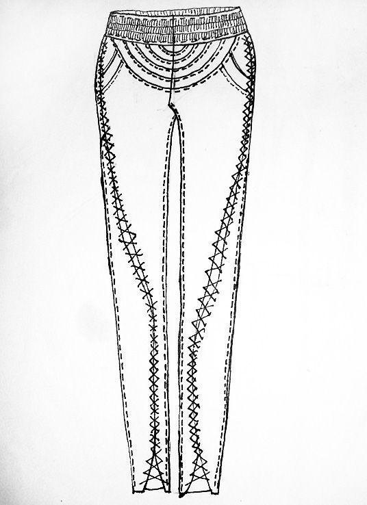 哈伦牛仔女裤_女装休闲裤设计手稿图-女士休闲裤款式效果图-CFW服装设计