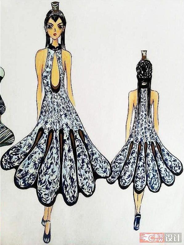 中国风—青花瓷-女装设计-服装设计-服装设计网手机版