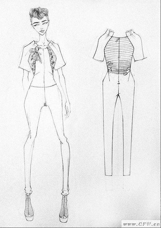 手繪女裝線稿 人體效果圖+衣服款式圖-女裝設計-服裝