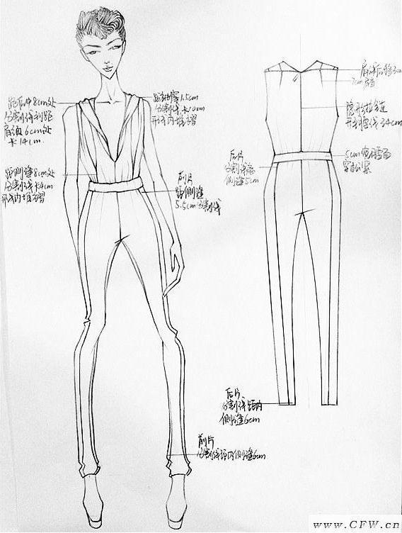 手绘线稿 人体效果图+衣服款式图