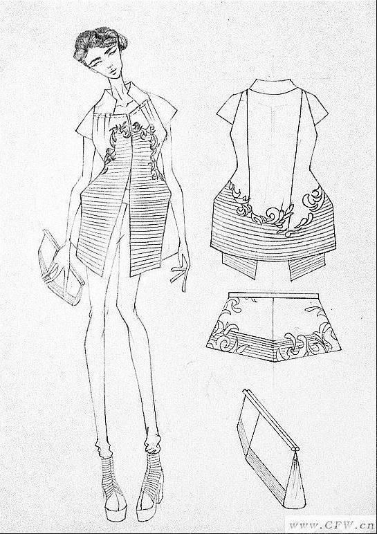 手绘女装线稿 人体效果图 衣服款式图-女装设计-服装