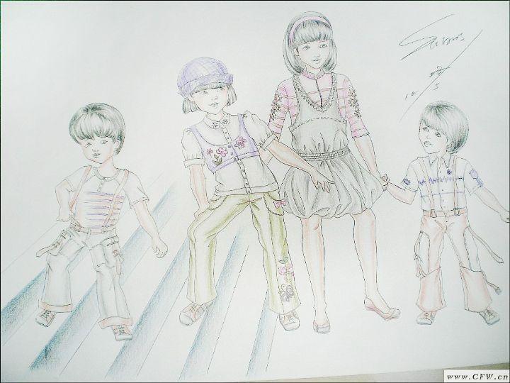 儿童休闲装设计-儿童套装设计-服装设计