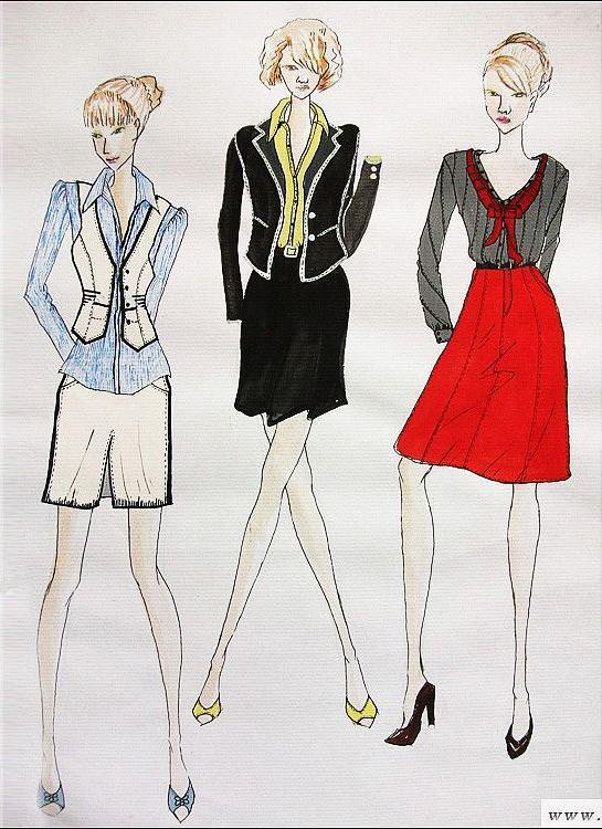 女装手绘效果图(职业装)-职业服装设计-服装设计