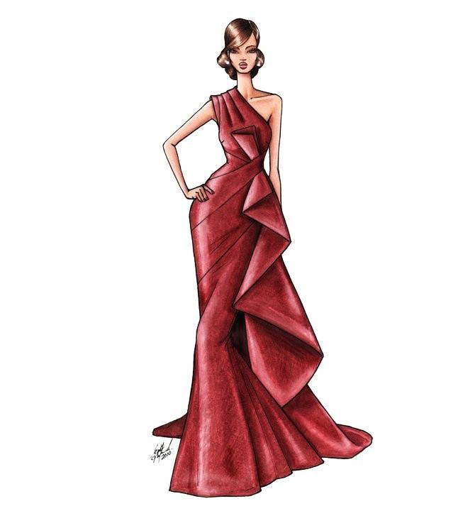 晚礼服手绘效果图-婚纱礼服设计-服装设计图片