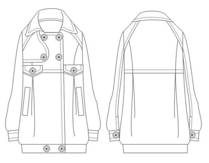 棉服款式手绘图