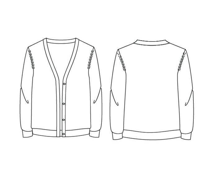 毛线开衫款式图-毛衫针织设计-服装设计