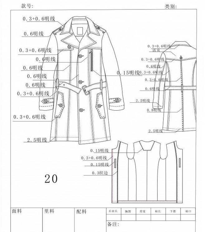 男士大衣款式工艺单-男装设计-服装设计