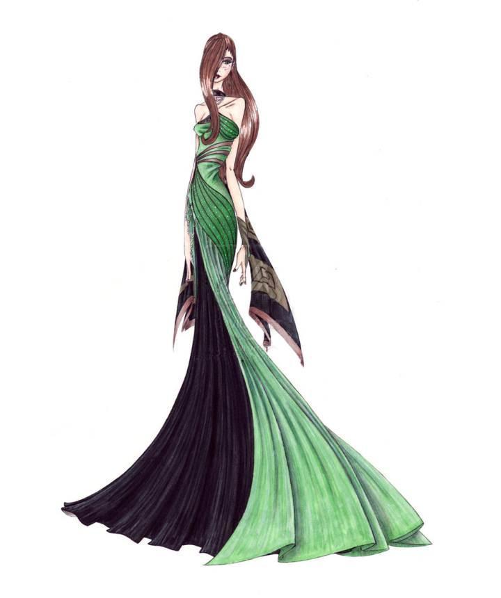 礼服手绘图稿-婚纱礼服设计-服装设计