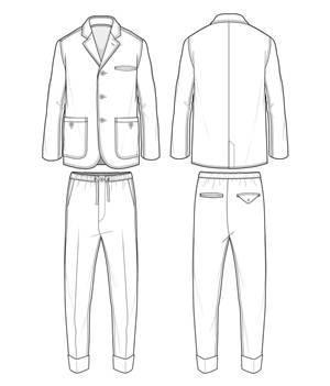 西装套装款式图-男装设计-服装设计图片