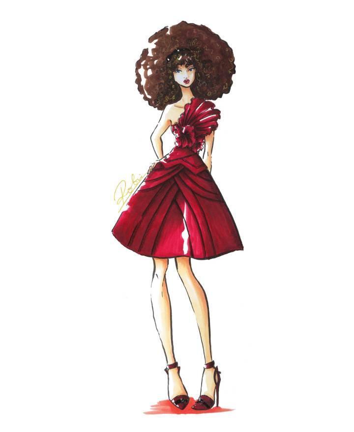 马克笔小礼服-婚纱礼服设计-服装设计