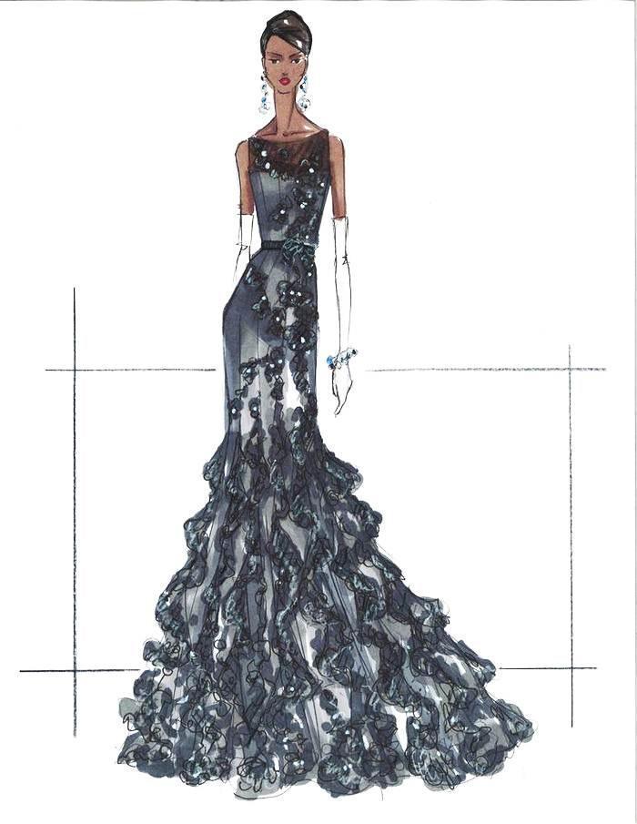晚禮服手稿馬克筆-婚紗禮服設計-服裝設計