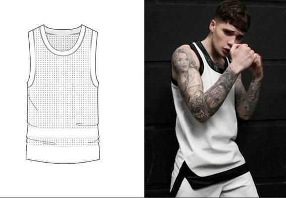 运动背心款式图-男装设计-服装设计