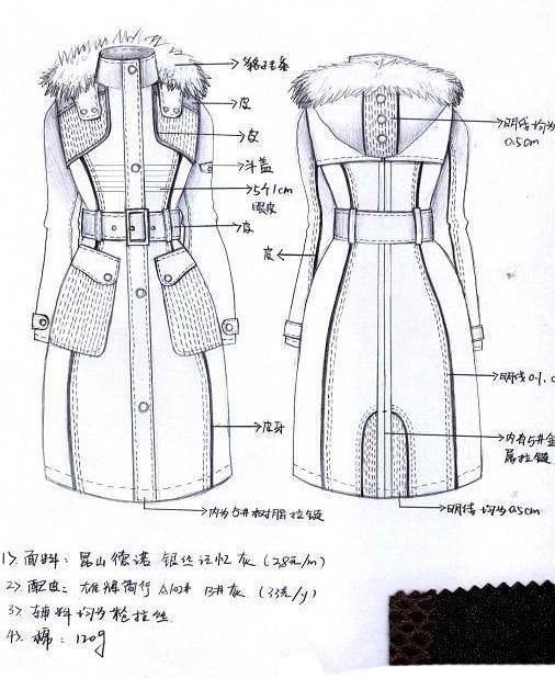 手稿棉衣羽绒服搜集-女装设计-服装设计