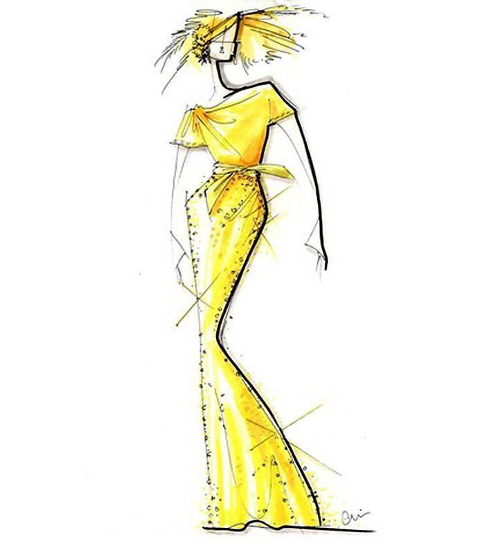 马克笔手稿礼服搜集-婚纱礼服设计-服装设计