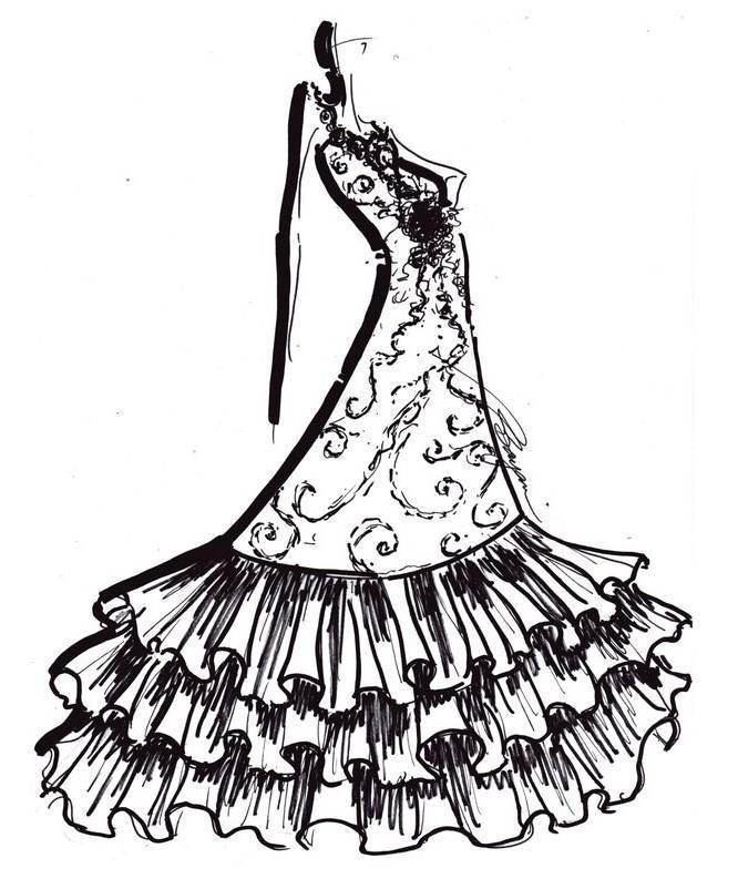 线稿礼服-婚纱礼服设计-服装设计