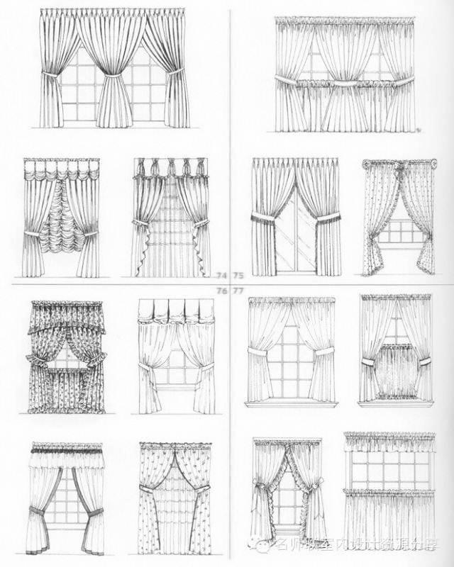 窗帘图稿作品-窗帘图稿款式图
