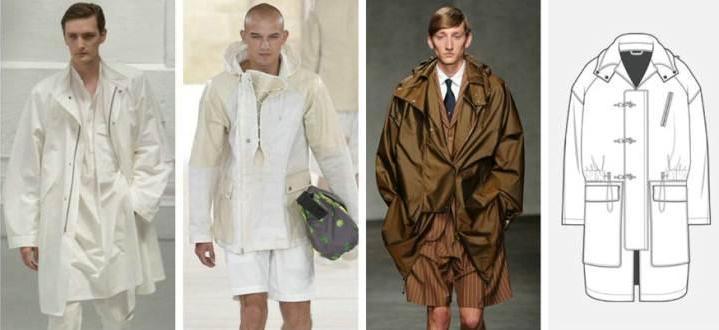 风衣大衣款式图-男装设计-服装设计