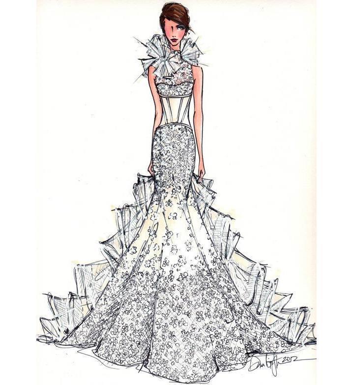 婚纱礼服图稿搜集-婚纱礼服设计-服装设计