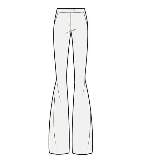 喇叭裤款式图