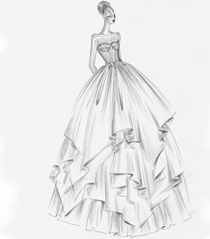 简笔画女生婚纱 手绘
