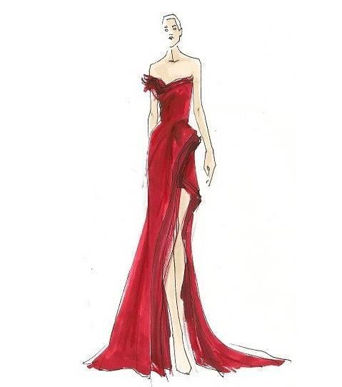 晚礼服手稿-婚纱礼服设计-服装设计