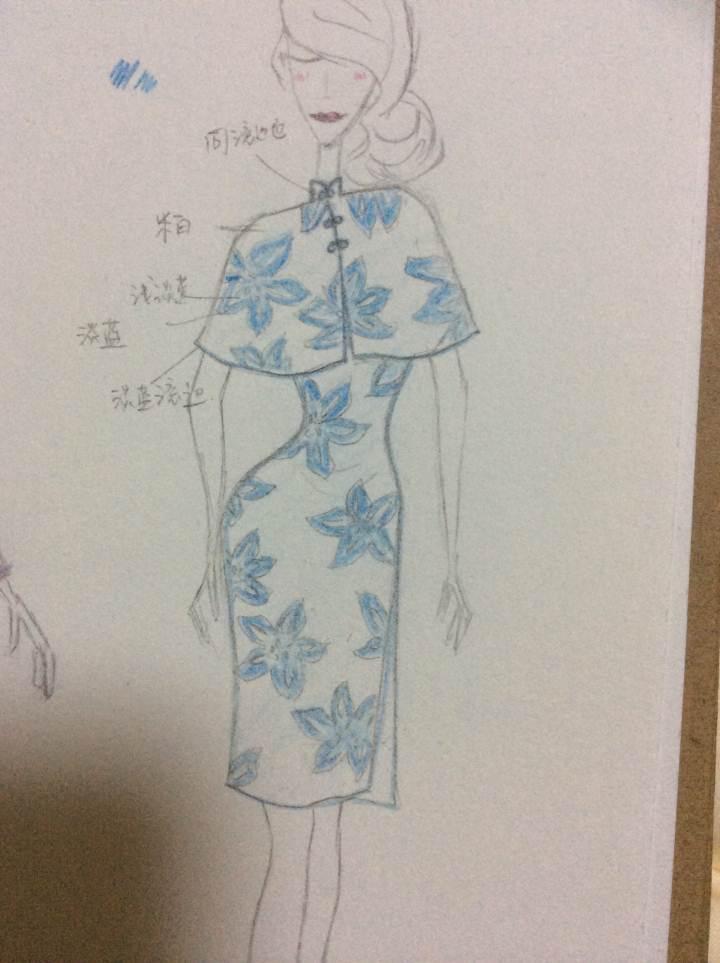 旗袍款式图手绘贴吧