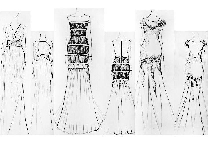 礼服款式图手绘图片-礼服效果图手绘图片-婚纱款式图手绘图片-各种