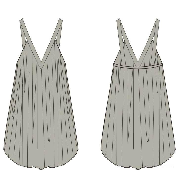 吊带连衣裙款式图-女装设计-服装设计