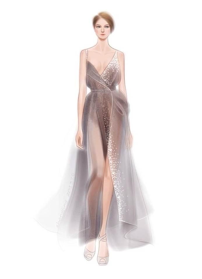 晚礼服图稿搜集-婚纱礼服设计-服装设计
