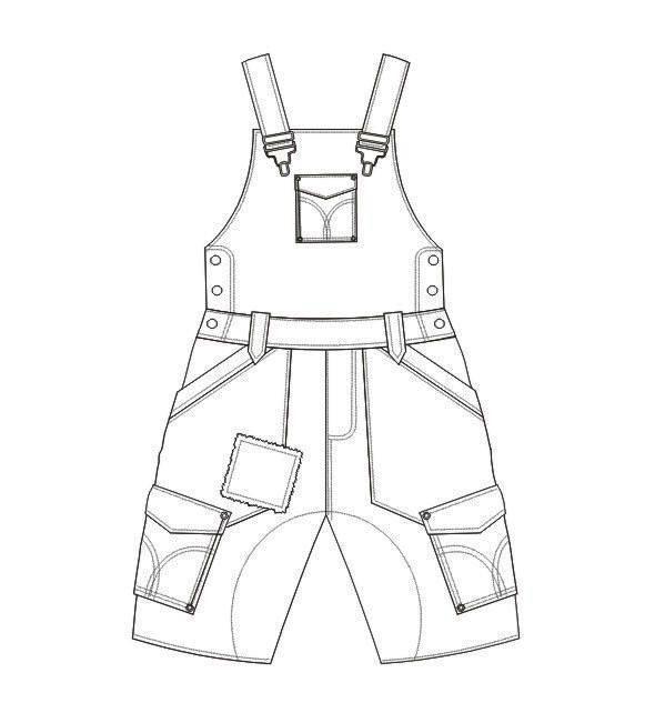 童装背带裤款式图
